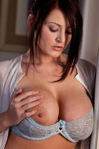 Model Sophie Dee in Takes Off Her Light Blue Top