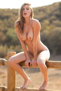 Model Amber Sym in Amber Sym is taunting us outside