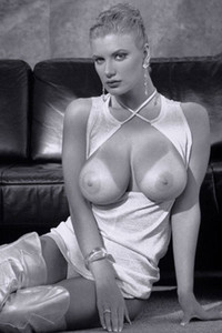 Model Brittany Andrews in Black and white